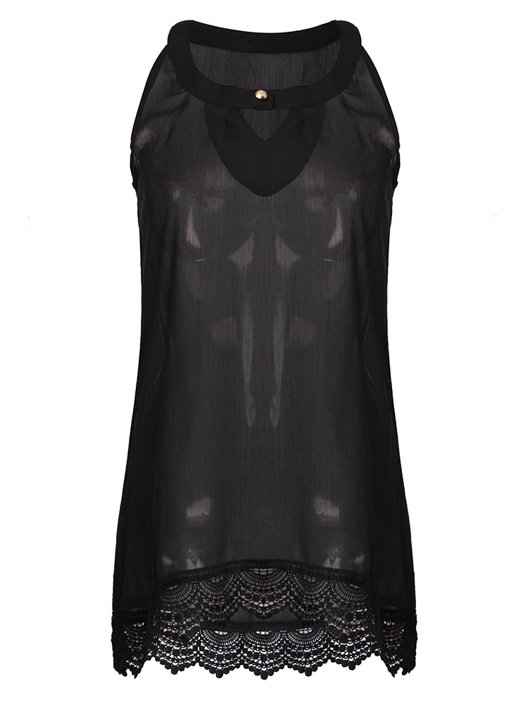 Casual Women Sleeveless Lace Hollow Stitching Chiffon T-Shirt