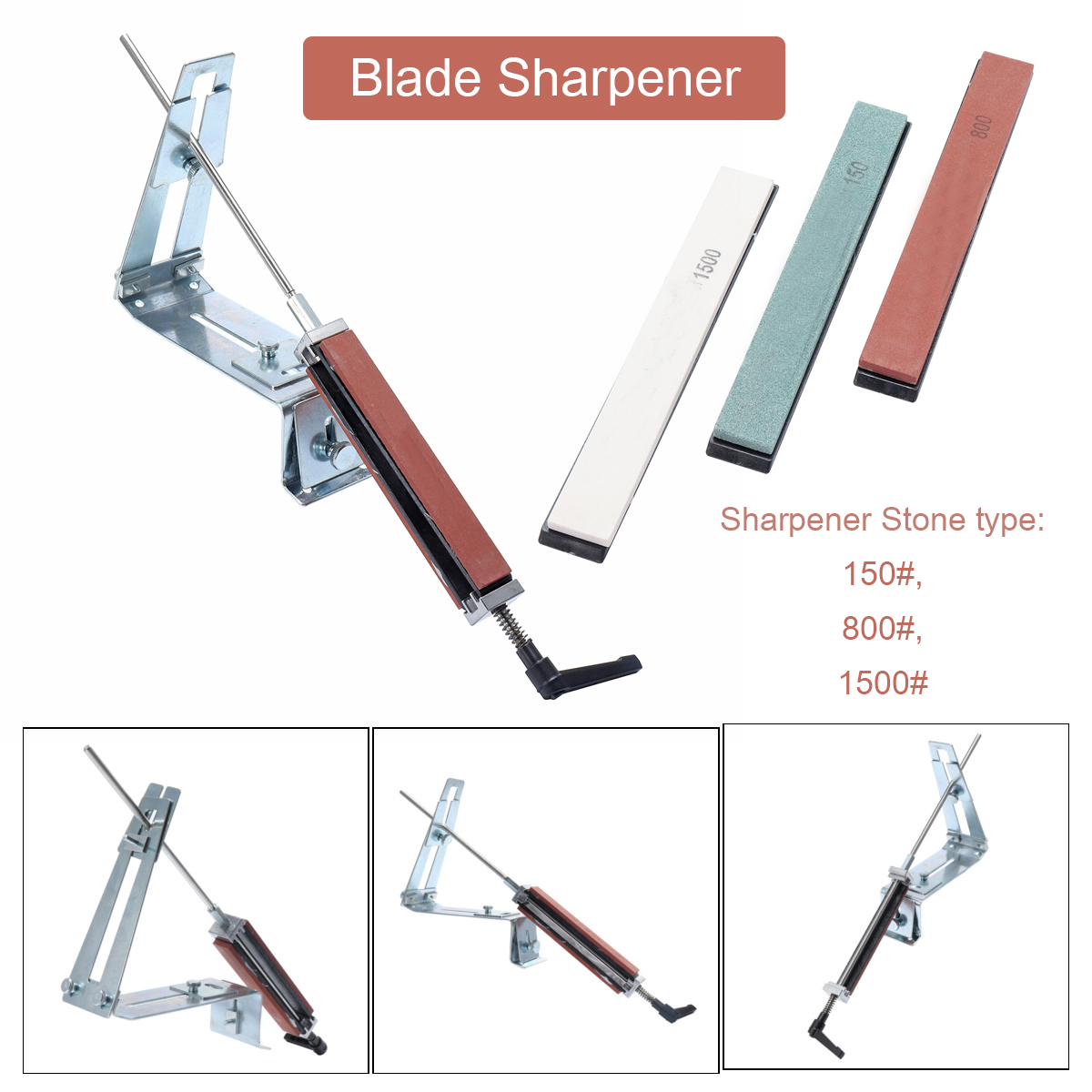 Professional Sharpening System Knife Blades Cutter Sharpener Steel Tools With 3 Stone