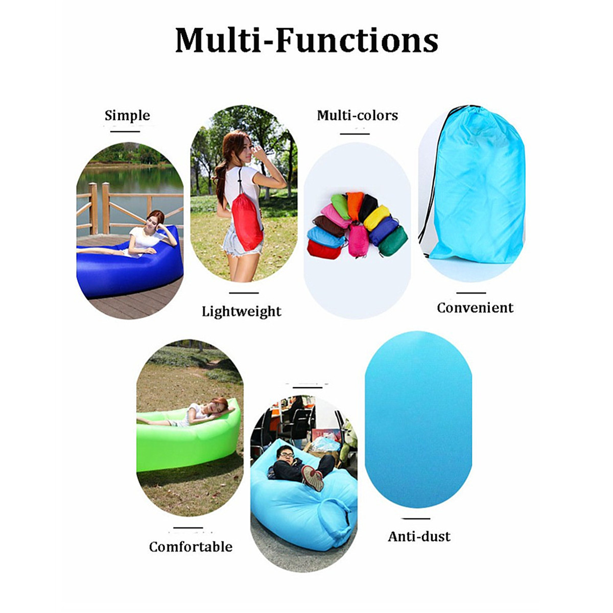 74.8x27.5x19.6 Inch Inflatable 190T Polyester Air Sofa Bed Lazy Sleeping Camping Bag Beach Couch