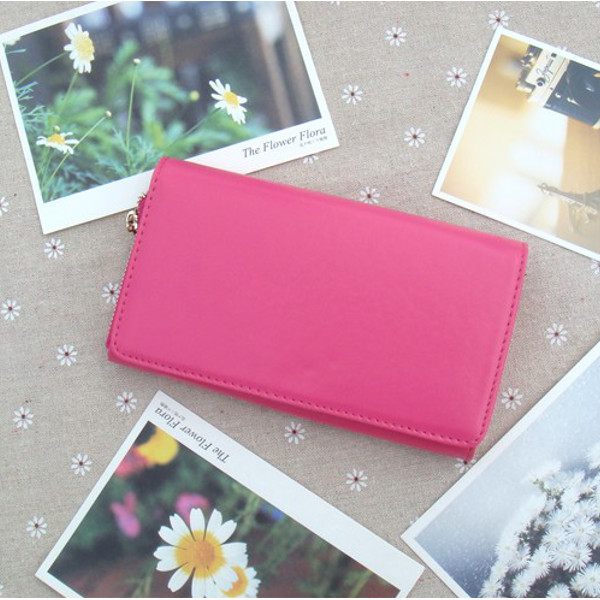Women Candy Color Hasp Long Wallet Girls Credit Card Holder Phone Bags Case