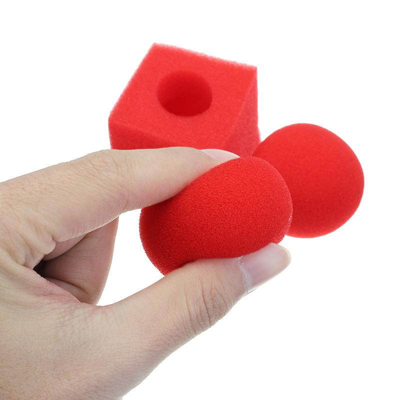 3PCS Kingmagic Magic Ball To Square Sponges Tricks Set Red
