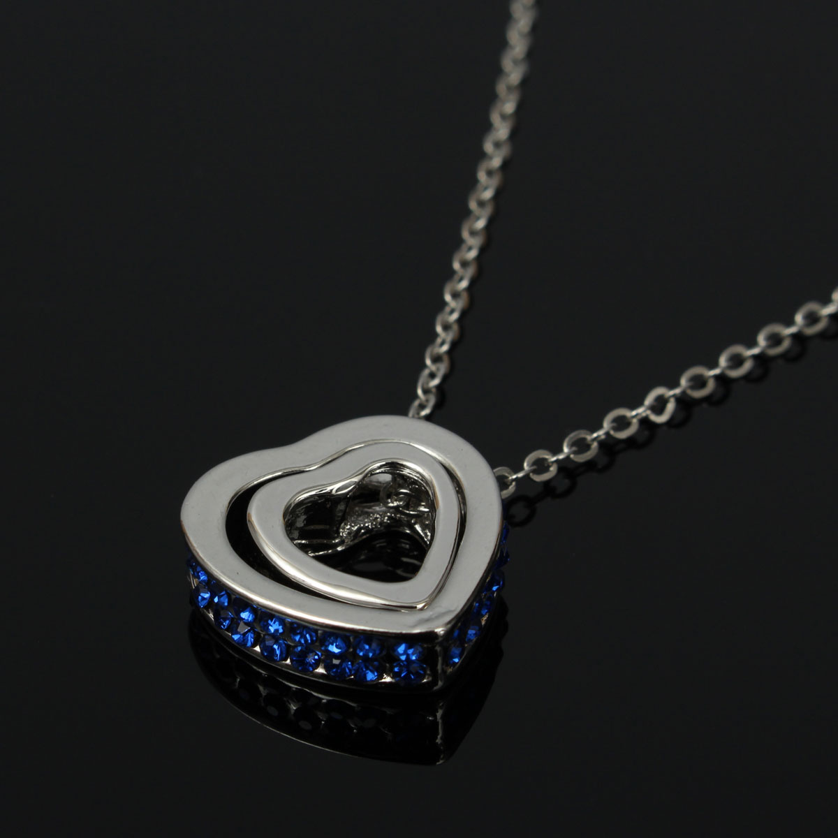 Couple Hearts O type Necklace Crystal Charm Chain Women Jewelry