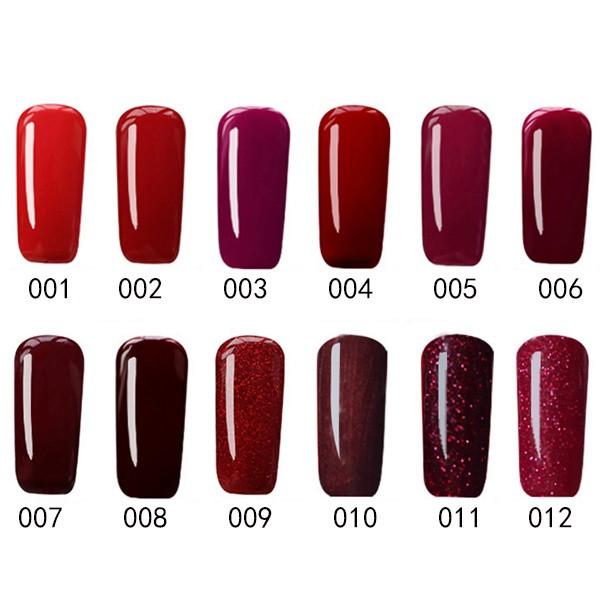 12 Colors Nano Wine Red Color System Nail Art Uv Gel Polish Soak
