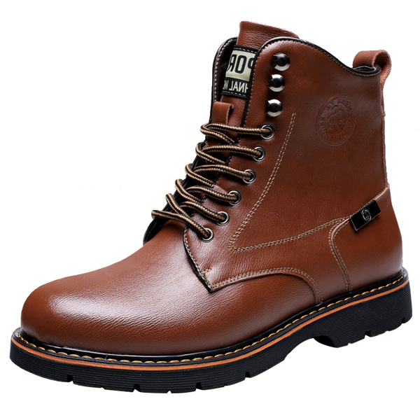Men Leather Boots Lace Up High Top Fashion Casual Outdoor Flat Shoes