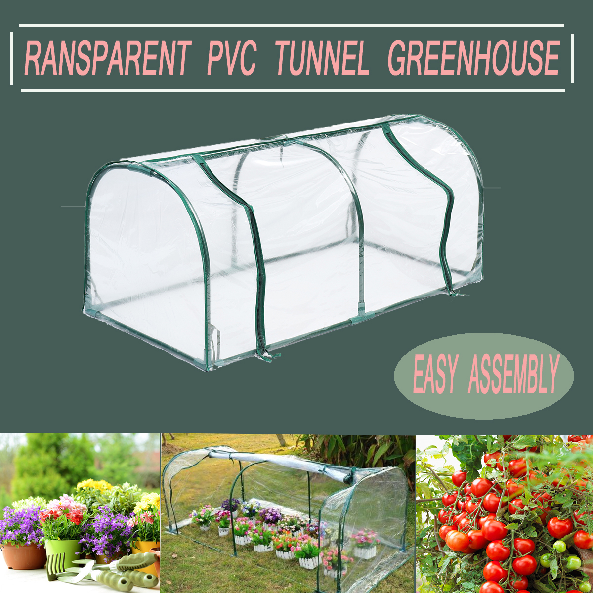 2 Sections Transparent Clear PVC Tunnel Greenhouse Green Planting Grow Box House Steel Frame
