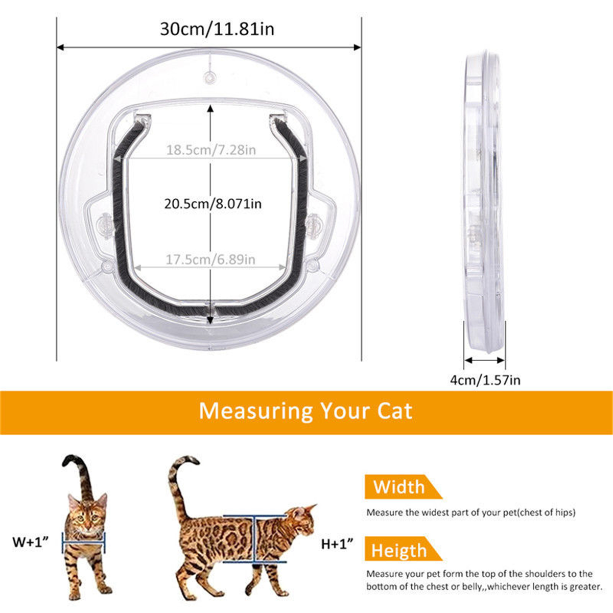 4 Way Round Clear Locking Flap Pet Door Cat Small Dog for Screen Glass Window Pet Door