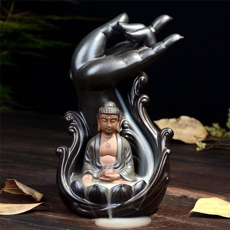 Ceramic Backflow Incense Burner Holder Buddha Zazen Fragrant Cone Censer Home Furnace Decor