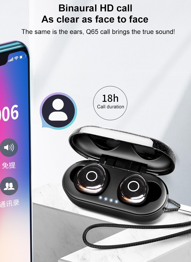 Ovevo Q65 HiFi TWS bluetooth 5.0 Earphone Graphene Diaphragm Smart Touch Auto Pairing Bilateral Call IPX7 Waterproof Headphone