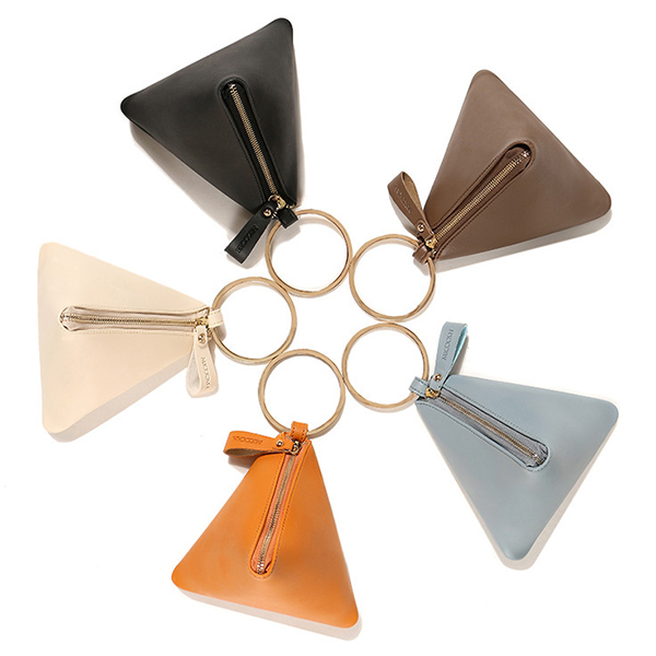 Women PU Leather Zipper Triangle Coin Bags Portable Round Metal Purse