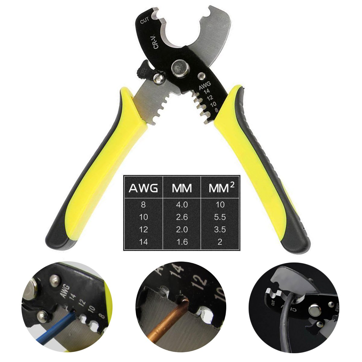 7inch Versatile Electric Cable Cutter Wire Stripping Plier Hand Tool 14/12/10/8AWG
