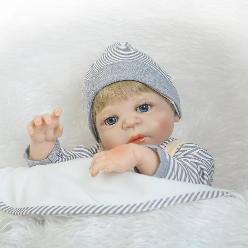 NPK 22inch Reborn Baby Doll Silicone Lifelike Boy Doll Vinyl Play House Toy