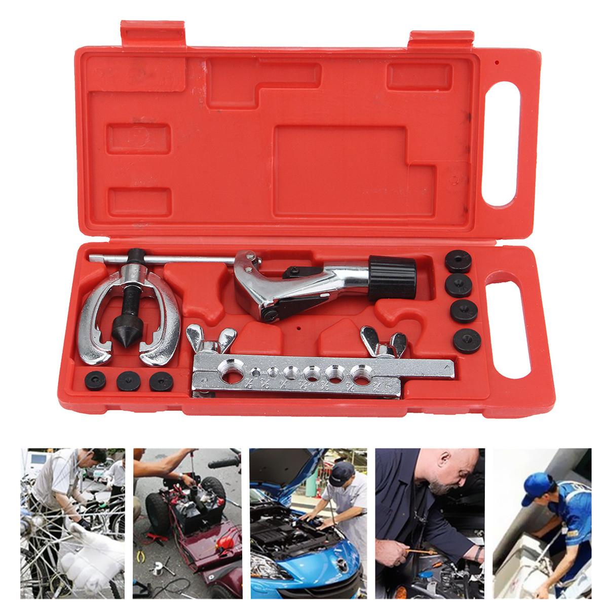 Double Flaring Tube Flare Tool Kits Pipe Cutter Refrigeration Expander With Case CT-2030