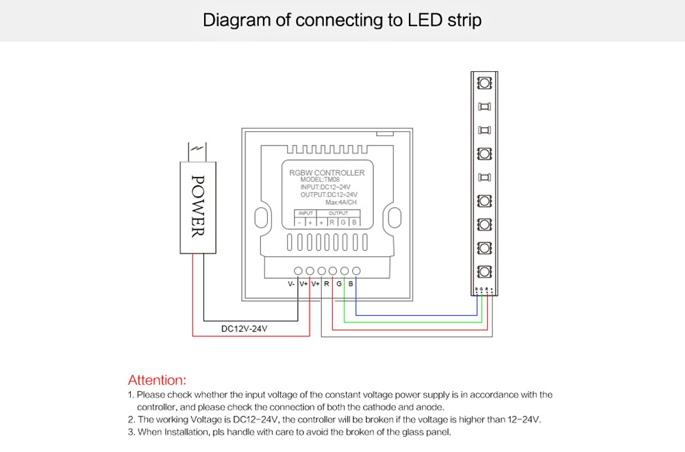 LUSTREON Touch Panel Color Changing Light Switch Dimmer Controller for RGB LED Strip DC12-24V