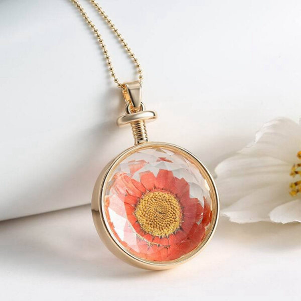 Round Glass Dry Flower Necklace Chain Women Alloy Jewelry