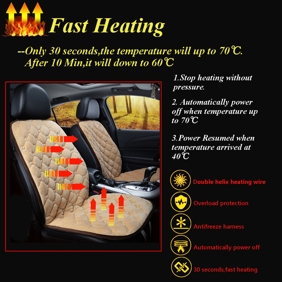 12V Car Plush Heated Seat Cushion Seat Warmer Winter Household Cover Electric Heating Mat