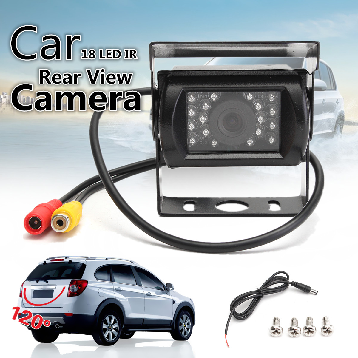 18 LED IR Car Rear View Reverse Reversing Backup Camera Waterproof Night Vision