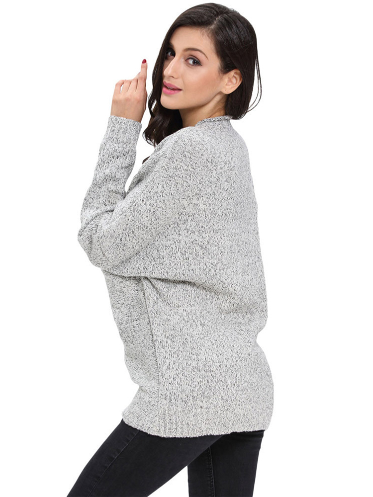 Casual Knit Cross Wrap Long Sleeve V-neck Loose Women Sweater