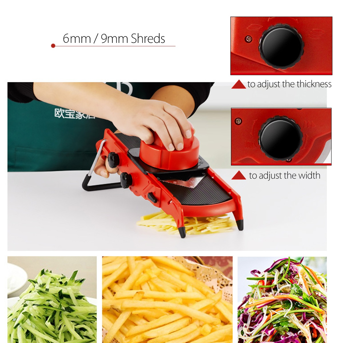 Godmorn Adjustable Vegetable Cutter Slicer Multi-function Food Slicer Fruit Cheese Julienne Slicer