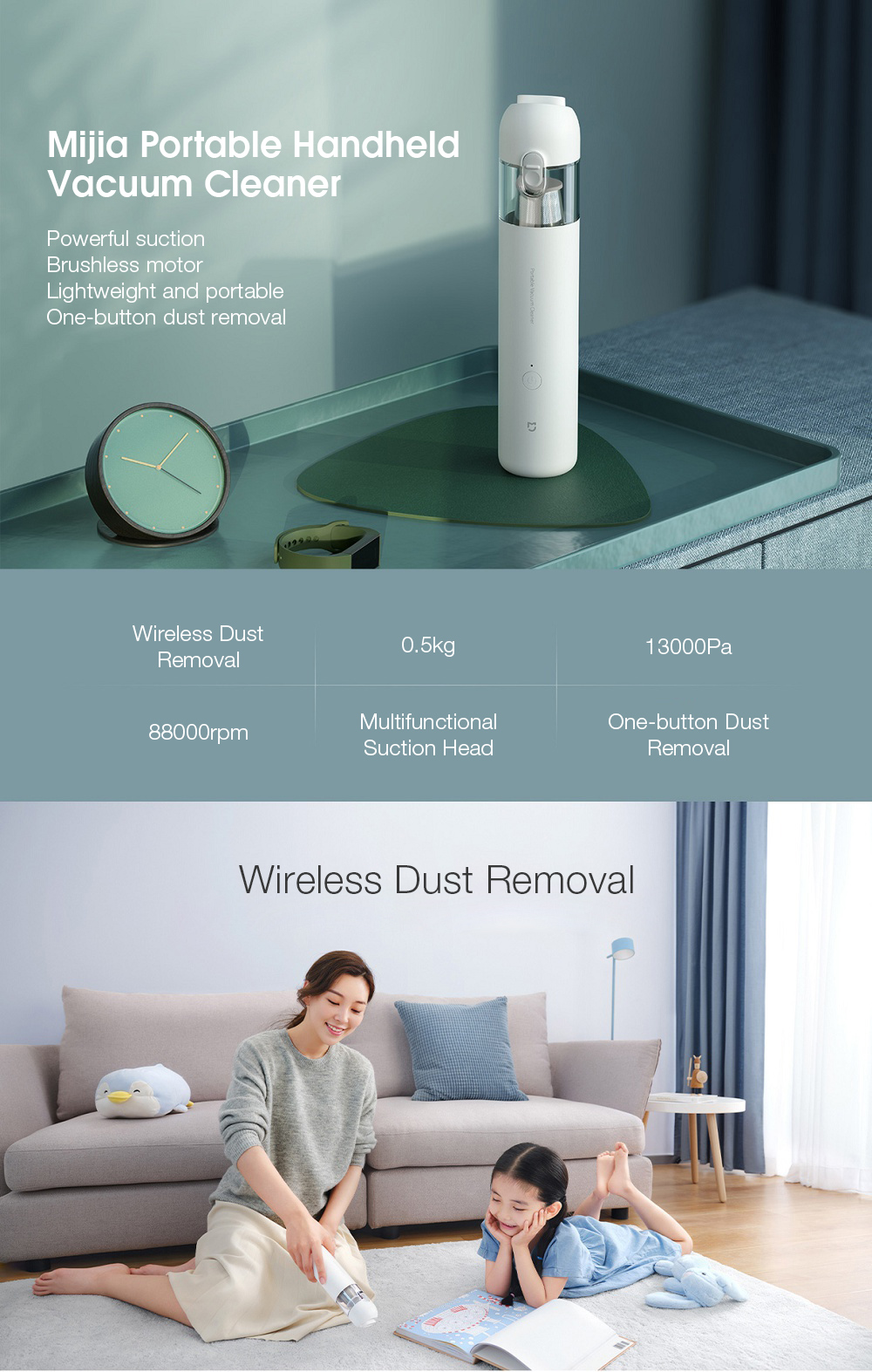 Xiaomi Mijia Handheld Portable Handy Car Home Vacuum Cleaner 120W 13000Pa Super Strong Suction Vacuum for Home and Car