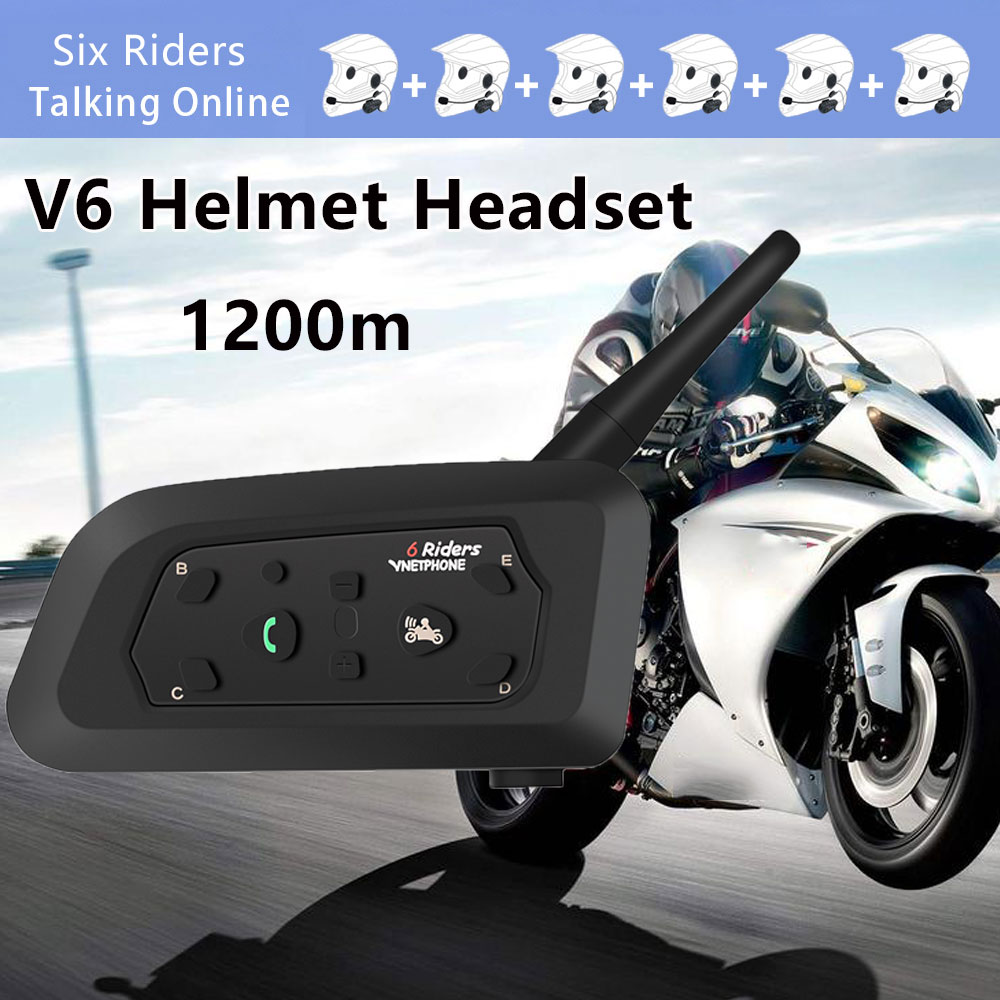 VNETPHONE V6-1200 1200M Motorcycle Helmet Intercom Interphone With bluetooth Function