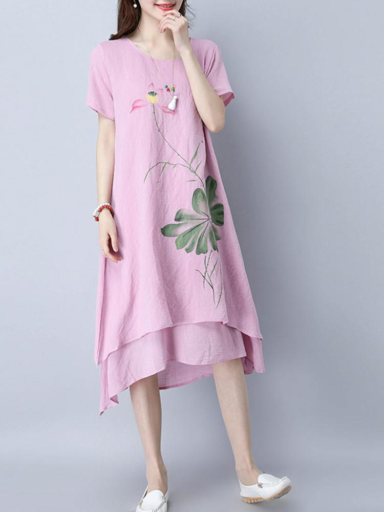 Casual Women Lotus Printed Layered Hem Short Sleeve O-Neck Dress