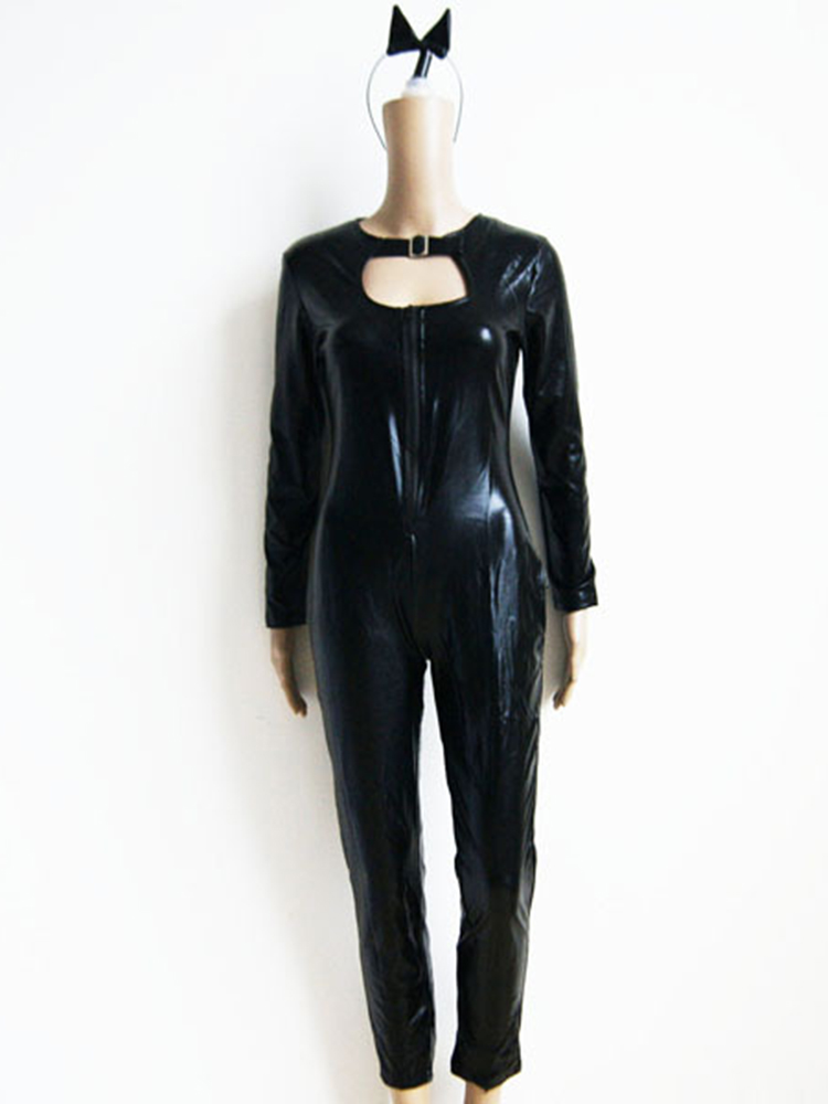 Holloween Cat Women Costume Super Hero Black Animal Leather Jumpsuit with Tail Headwear