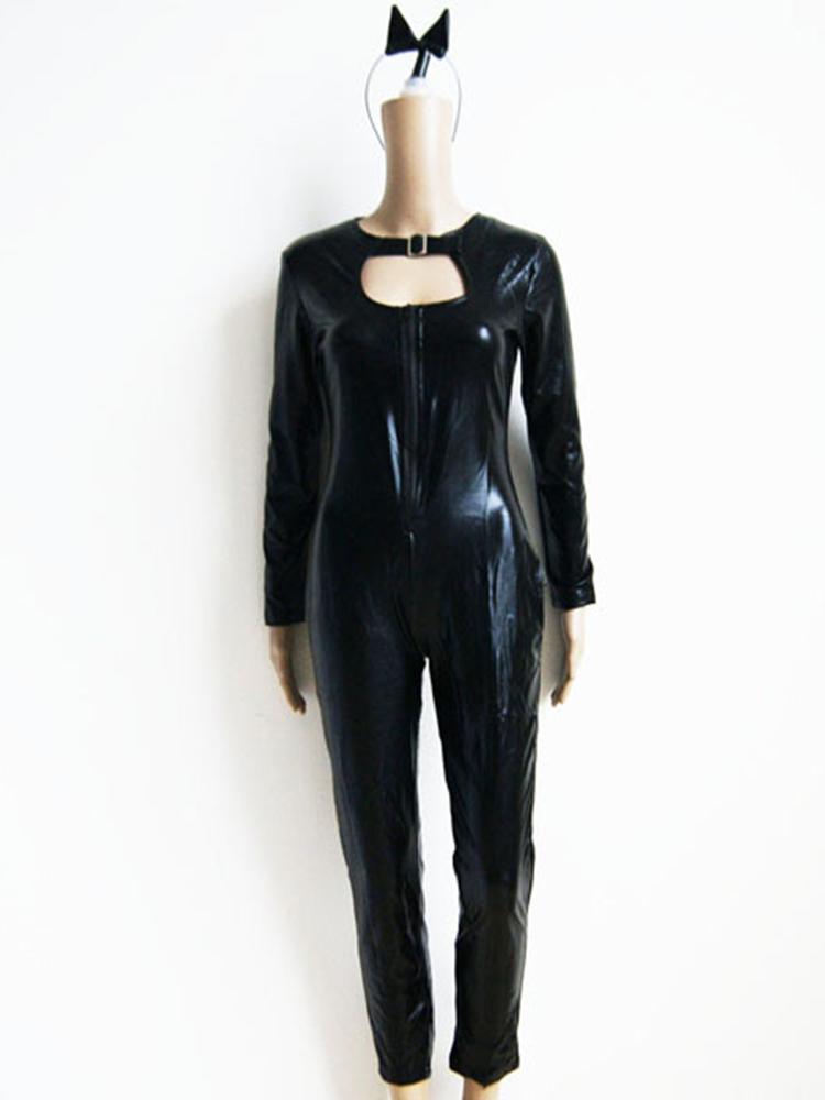 Holloween Cat Women Costume Super Hero Black Animal Leather Jumpsuit with Tail Headwear