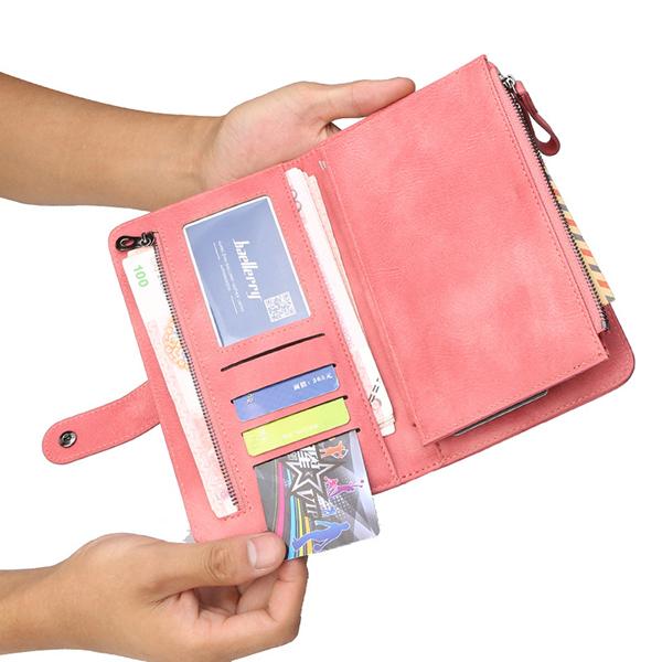 Baellerry Women 9 Cards Slots Long Wallet Phone Bag
