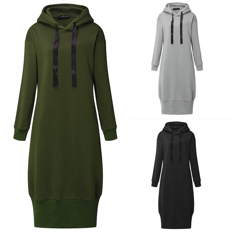 Women Hooded Long Sleeve Pure Color Hoodies Sweatshirt Dresses