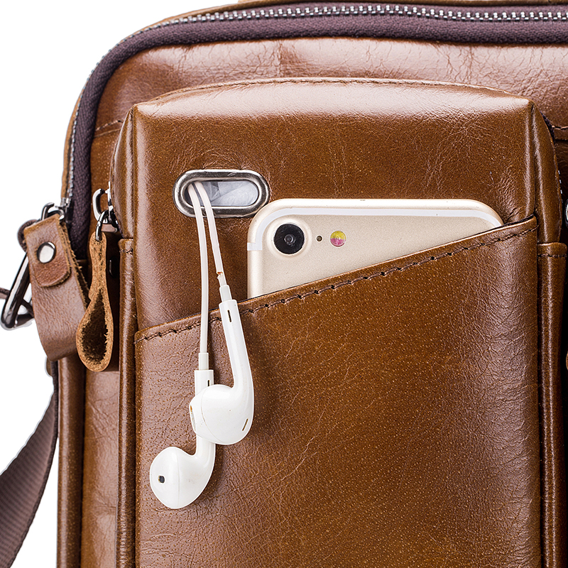 Men Genuine Leather Crossbody Bag Earphone Cowhide Bag