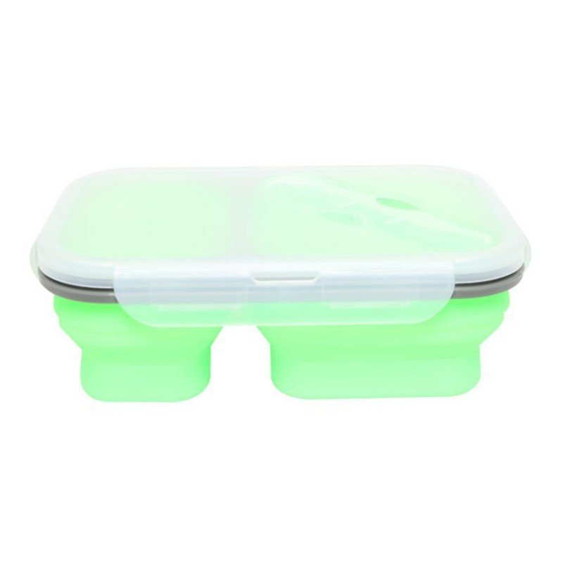 2 Cells Silicone Collapsible Lunch Box Microwave Oven Bowl Folding Food Storage Lunch Container