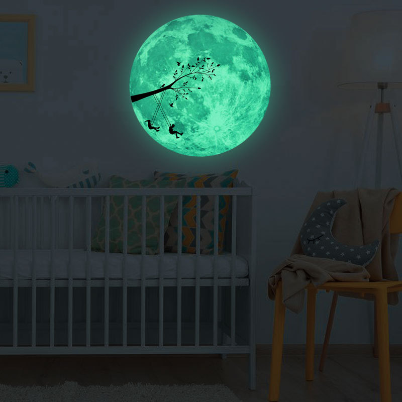 30Cm Large Moon Glow In The Dark Pattern Stickers Luminous DIY Wall Sticker