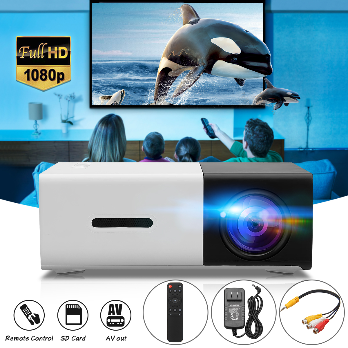 YG-300 LCD LED Projector 400-600 Lumens 320 x 240 Pixels 1080P Home Media Player With Remote Control