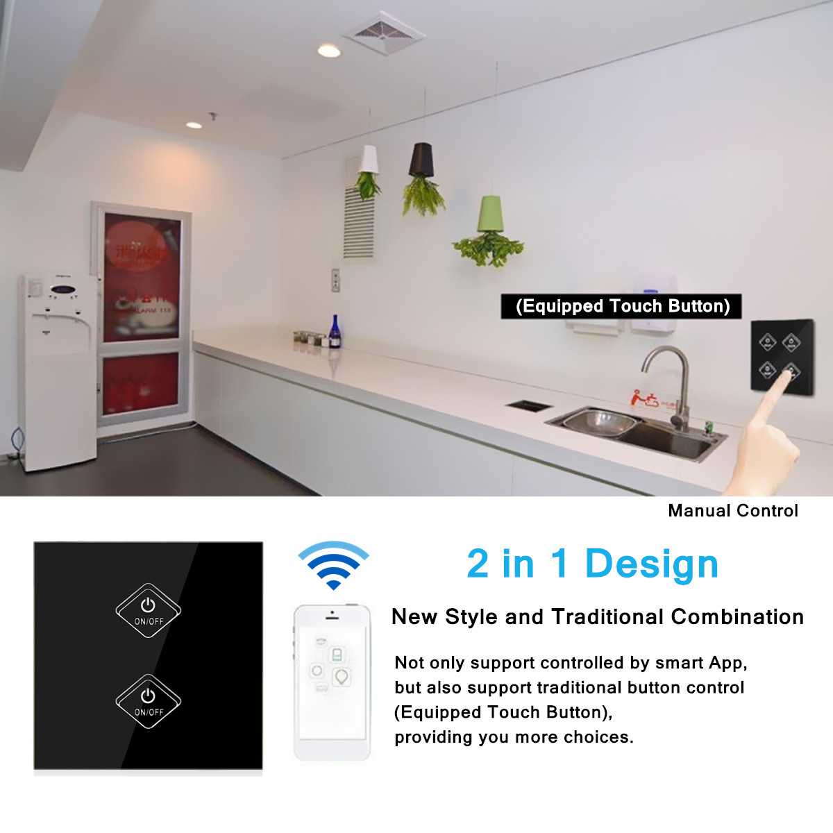 1/2/3/4Gang WIFI Smart Wall Light Remote Touch Switch Panel work with Alexa /Google Home