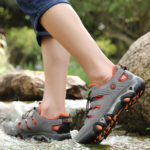 Men Sport Running Shoes Mesh Hollow Out Round Toe Outdoor Sneakers