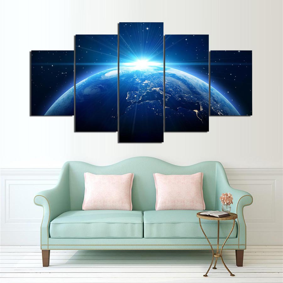 5 Cascade Blue Earth Canvas Wall Painting Picture Home Decoration Without Frame Including Installat