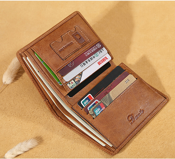 Men Genuine Leather Vintage Short Wallet Slim Money Card Holder with 11 Card Slots