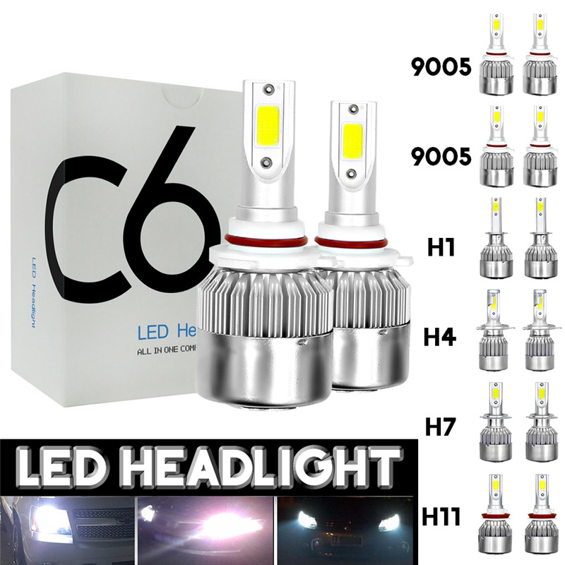 2pcs 12V/24V C6 LED Bulb H1/H4/H7/H11/9005/9006 White Headlights 72W 7200Lm COB Headlamp Auto Fog Light Lamp Bulb