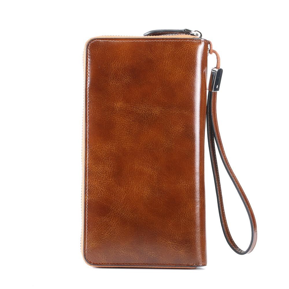 Ekphero Men RFID Clutch Bag Retro Oil Leather Long Wallet
