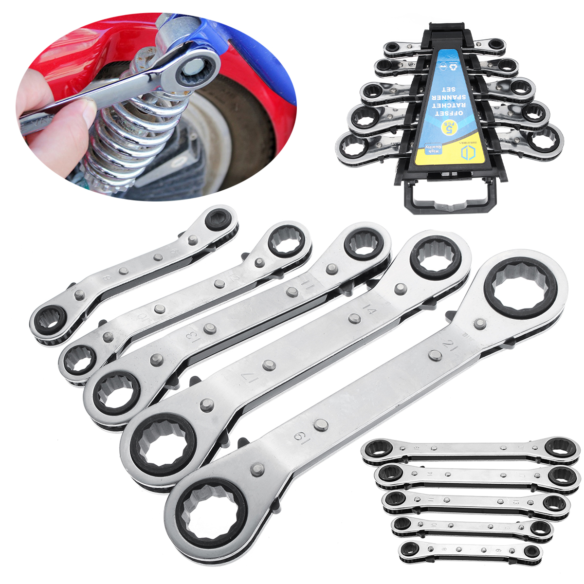 5Pcs Metric Offset Ring Wrench Spanner Ratchet Metric Hand DIY Tool Set