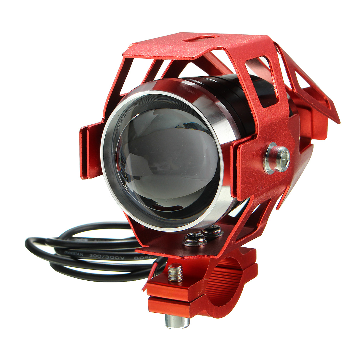 12V-80V U5 LED Motorcycle Headlight Driving Fog Lamp Spot Light Red Frame