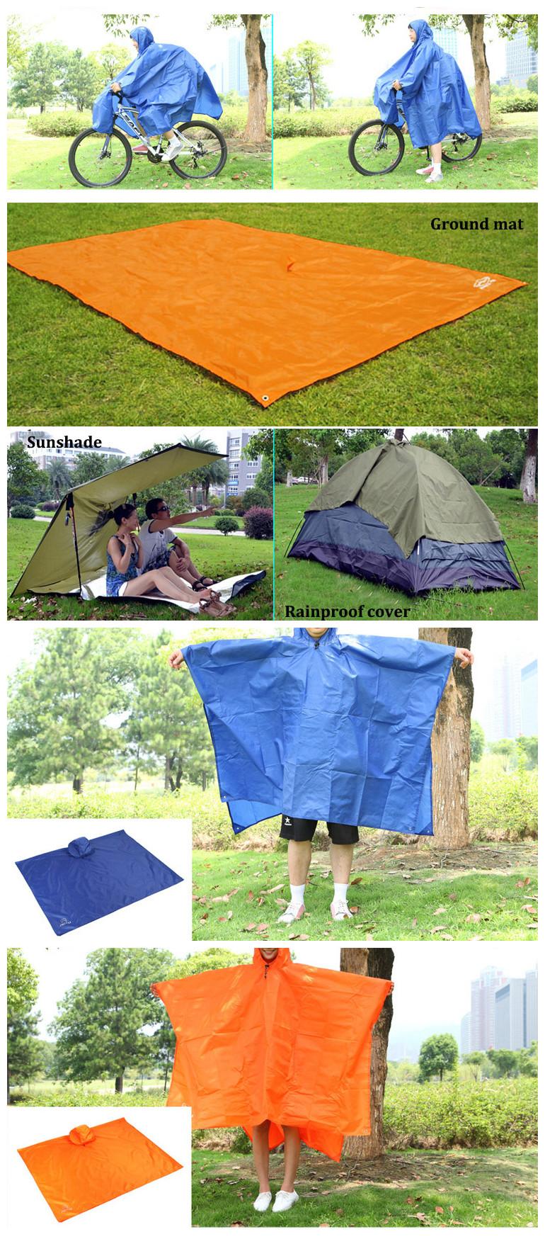 3 In 1 Climbing Hiking Rain Coat Poncho Rain Wear Camping Pad Mat Waterproof Ground Sheet Sunshade