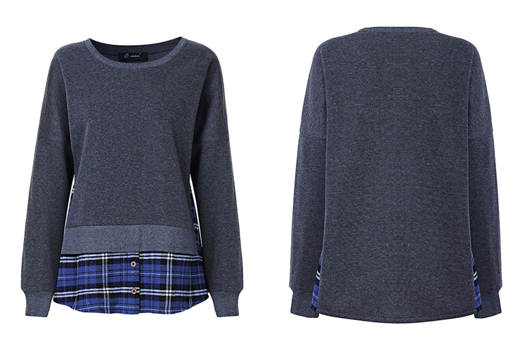 L-5XL Casual Women Plaid Splicing Sweatshirt