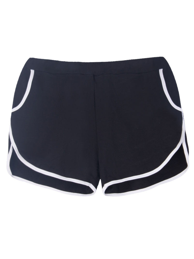 Pure Color Elastic Waist Sports Shorts For Women