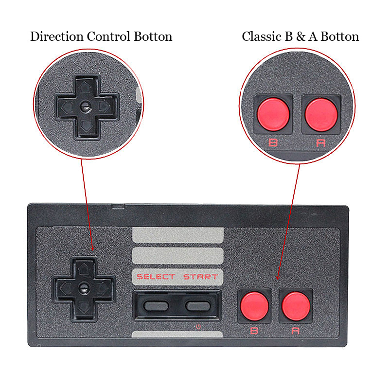 Mini Rechargable Wireless Game Controller For Nintendo NES Classic Edition Console Black