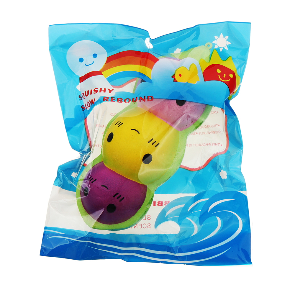 Colorful Pea Doll Squishy charm 15cm Slow Rising With Packaging Collection Gift Soft Toy