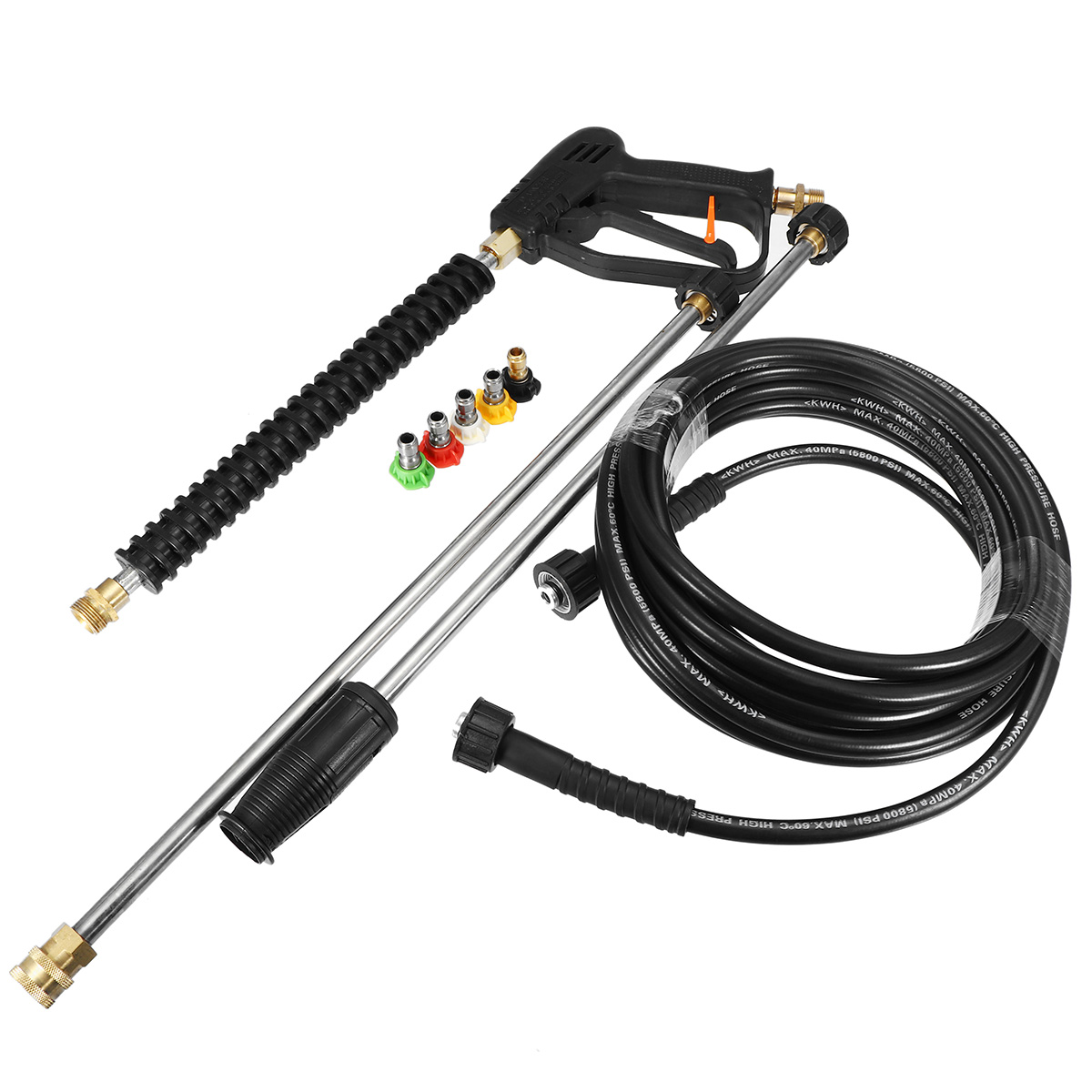 High Pressure Washer Gun Water Jet Wash Gun 3000 PSI with 5-color Pressure Water Washer Nozzles