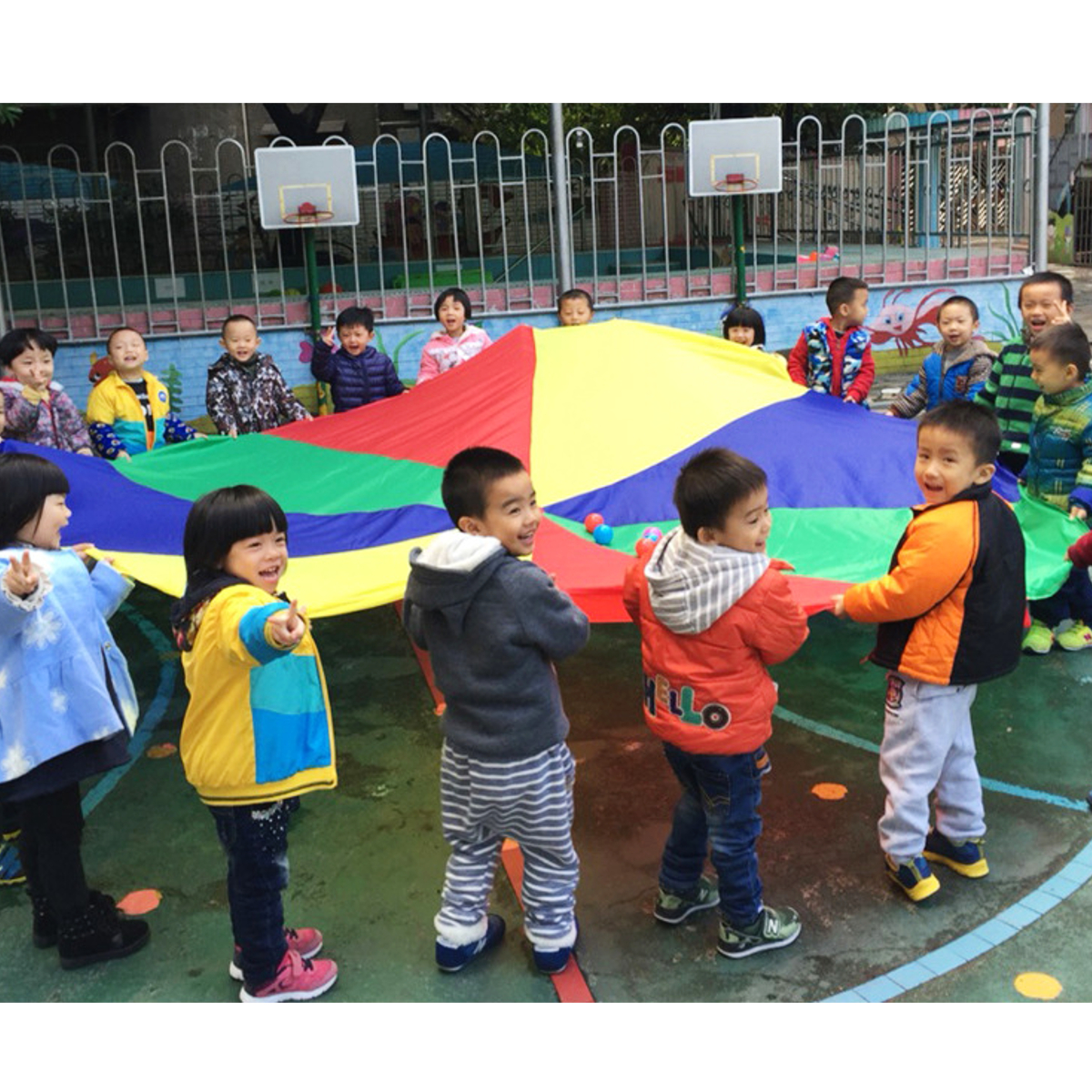 20ft/6M Kids Play Rainbow Parachute Outdoor Game Park Flyer Development Exercise