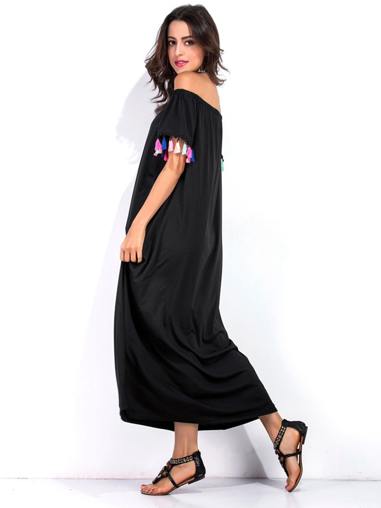 Black Women Off Shoulder Tassel Patchwork Loose Maxi Dresses