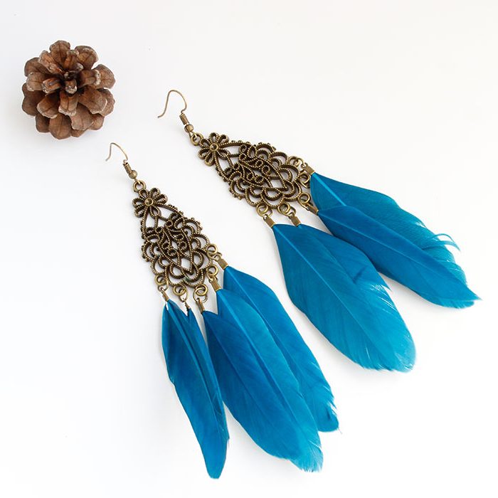 Bohemia Elegant Vintage Earrings Feather Long Drop Earrings
